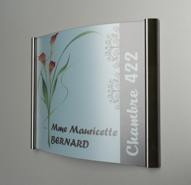 Plaque de porte galb e en inox double pli sign capitale - Plaque de porte decorative ...