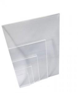 Chevalet d'affichage avec plexi plié de différentes tailles