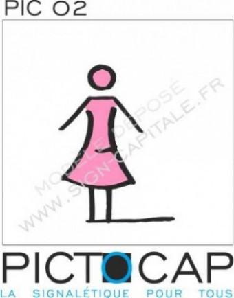Sign-Capitale Pictogramme plaque original WC Femme Pictocap