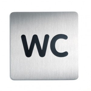 Sign-Capitale- Pictogramme WC plaque carrée acier