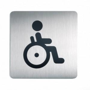 Sign-Capitale- Pictogramme WC plaque rcarrée acier handicapés
