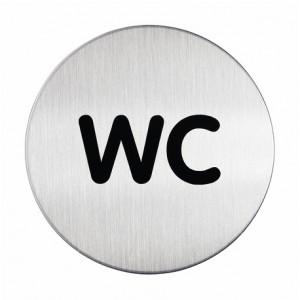 Sign-Capitale- Pictogramme WC plaque ronde acier