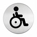 Sign-Capitale- Pictogramme WC plaque ronde acier handicapés