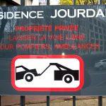 Panneau prévention enlevement voiture