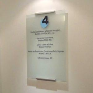 Plaque directionnelle verre d'étage décor vinyle
