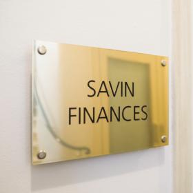 savin finances plaque laiton